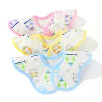toalhas de bebê rosa bonito venda por atacado-10 pcs Atacado New Baby Bibs Flores À Prova D 'Água Duplo Botão Coberto Algodão Ecológico Babadores 360 Graus de Modelagem Dupla Babadores Para Bebês