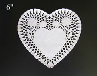 Wholesale Grease Paper - Wholesale- 6 inch Heart white lace paper doilies Doily Paper Grease-proof Paper Wedding Party Table Decorative Cake Holder
