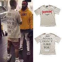 Compra Usa Lettere-All'ingrosso-Justin Bieber Scopo T-shirt Uomini paura di Dio Print Lettera Casual Hip Hop T-shirt Uomo Mens Tee Clothes Homme Dimensione Usa