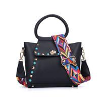 Wholesale Mini Bag New Candy - New Fashion Lady Crossbody Bag Flap Mini Bag Adjustable Handle Rivet Candy Small Shoulder Bag Handbag Wide Colorful shoulder strap VK5167