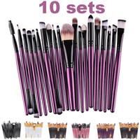 Wholesale Eye Shadow Sponge Brush - Wholesale 10 Sets Makeup Brushes Set Lip Foundation Eyeliner Mascara Eye Shadow Brush Sponge 6 Colors