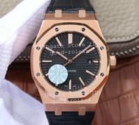 relógios de couro venda por atacado-Luxo Rose Gold Mens Automático Cal.3120 Homens Relógio Preto Branco 15400 Couro Real 41mm JF À Prova D 'Água Relógios De Pulso De Fábrica De Cristal relógios de Pulso