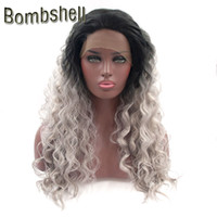 Wholesale Grey Synthetic Wigs - Bombshell Black Ombre Silver Grey Loose Curly Synthetic Lace Front Wig Heat Resistant Natural Hairline For Black White Women