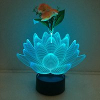 3D Lotus Illusion Lamp Night Light avec Flower DC 5V USB Charging AA Battery Wholesale Dropshipping Expédition gratuite Retail Box