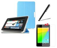 Wholesale Google Nexus Smart Cover - Wholesale- 4in1 Ultra Slim Magnetic Folio Stand Leather Case Smart Cover +2x Screen Protector + Stylus For Google Nexus 7 II 2nd 2gen 2013