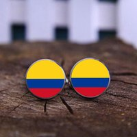 Wholesale Flag Cufflinks - Hot Cuff Shirt Buttons Captain Colombia Flag Cufflink Keychain Glass Clothing For Men Gift Costa Rica Flag Cufflinks Keychain For Jewelry