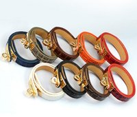 Wholesale Punk Rock Woman - Hot Leather Bracelet Many Colors Gold Alloy Vintage Bracelet   Punk Rock Leather PU Bracelets Bangles for women men