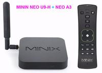 minix maus großhandel-3 STÜCKE MINIX NEO U9-H + MINIX NEO A3-Luftmaus 64-Bit-Octa-Core-Media-Hub für Android 2 / 16GB 4K Sechs-Achsen-Gyroskop-Fernbedienung mit Sprachausgabe