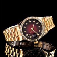 Wholesale gold belt buckle bracelet - 38mm automatic date calendar luxury fashion Gold and silver bracelet of the alloy steel belt movement quartz master clock man gifts