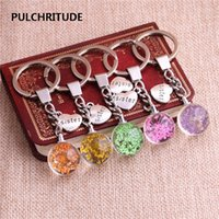 2 шт. / Lot Metal KeyChain Crystal Glass Ball Сушеный цветок Подвеска Heart Shape Letter Charm Key Ring Jewelry Diy C0529