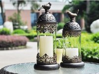 Wholesale 2017 Continental Vintage Candlestick Ornaments Retro Romantic Style of Morocco Iron Glass Candlehloder for Chirstmas Gifts Home Decoration