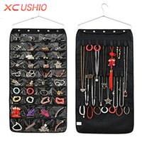 Großhandel-40 Taschen Doppelseitige Schmuck Hängen Aufbewahrungstasche Vlies Speicherorganisator 20 Magic Tape Haken Ohrringe Ring Display Pouch