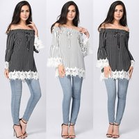 Women Slash Neck Short Summer Hot Sell Stripe Chiffon Sexy Shirt Top With Boat Neck Lotus Leaf Sleeves Chiffon Blouse