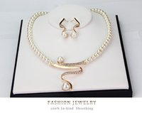 Wholesale Women S Earrings Gold Plated - Gold Color Imitation Pearl Chain Necklace and Earrings Sets Women Wedding Africa Nigeria S-shaped Jewelry Sets