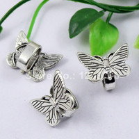 50pcs / lot Silver Tone Slider Butterfly, pour Bracelet Collier Cord Beads Watch Chain Beads DIY Accessoire 22x16mm fit: 10x8mmK01229