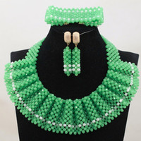 Wholesale Lemon Green Party Dresses - nigerian party beads necklace set 2017 lemon green white african beads jewelry set wedding party ankara style match aso ebi design dress