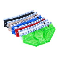 Wholesale Silk Men S Underwear Briefs - Bikini Men Briefs Summer Ice silk Sexy Cool Men Underwear Breathable Brand Underpants male briefs 4 lot
