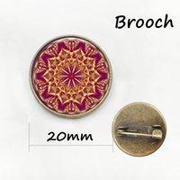 Wholesale Cat Eye Cabochon - Summer style Bule Cat eye brooch pins Glass cabochon dome Yoga mandala Collar Brooch Dress accessories badge
