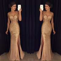 Wholesale Petite Style - Real Image 2018 Hot Selling Sparkle Sexy Style V-Neck Evening Long Dresses With Sequin Prom Gowns