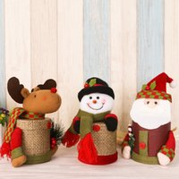 Wholesale Candy Containers Wholesale - Christmas Santa Claus Candy Jars Boxes Snowman Deerlet Santa Paper Creative Container Best For Children With Retail Package Drop Shipping