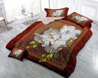 Wholesale Digital 3d Printing - Custom Drawings Can be Customized 3D White Flowers Digital Printing Cotton Satin 4-Piece Duvet Cover Sets Bedding Sets
