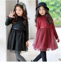 Wholesale Wavy Ribbon - Big girls princess dress Kids velvet wavy collar thickening dress Children bows ribbon sashes tulle dress Kids pure color clothes C1730