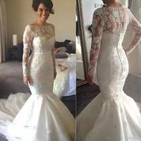 loja de noiva em renda venda por atacado-Venda quente de manga longa vestidos de casamento sereia sheer coberto botões loja online china lace frisado vestidos de noiva 2017