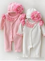 kızlar güzel şapkalar toptan satış-2017 INS Sıcak stilleri Yeni Gelenler Sıcak satmak bebek kız bahar Yaz yüksek kalite% 100% pamuk romper + Güzel dantel çiçek şapka setleri giyim