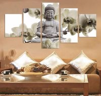Wholesale Buddha Oil - 5 Panels set Framed Orchid Buddha Background Art,High quality Large Handpainted Modern Wall Deco Art Oil Painting On Canvas Multi Sizes 002