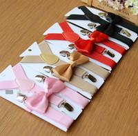 мальчиков синие галстуки-бабочки оптовых-Дети подтяжки и галстук-бабочка набор для 1-10T 32 цветов детские брекеты эластичный Y-обратно красный розовый черный синий мальчики девочки аксессуары