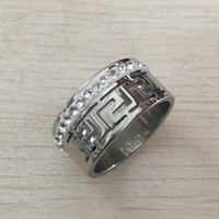 Wholesale Gold Plated Great Wall - High quality men 10mm vintage greeky key Wedding Hollow Great Wall Ring Austria Clear Crystal Jewelry Stainless Steel Engagement alliance