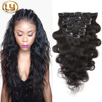 Wholesale ombre brazilian clip hair extensions for sale - Group buy 7A Grade Body Wave Clip In Human Hair Extensions Brazilian Human Hair Clip In Extensions Sets for Full Head