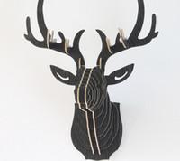 kits de montage de bricolage achat en gros de-Yjbetter DIY 3D En Bois Coloré Animal Cerf Tête Assemblée Puzzle Tenture Mur Décor Art Bois Modèle Kit Jouet Décoration de La Maison
