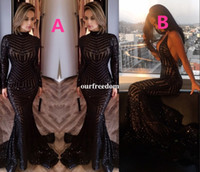 Wholesale Dress Mermaid Michael - 2017 Michael Costello Long Sleeve Prom Dresses Bling Bling Black Sequins High Neck Mermaid Sexy Celebrity Gowns Pageant Evening Dresses