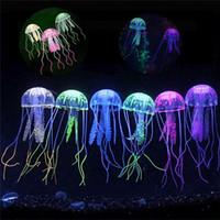 ingrosso decorazione della medusa dell'acquario-All'ingrosso-Nuovo 5cm Acquario prodotti serbatoio di pesce decorare Piccola imitazione meduse in silicone trasparente decorazione fluorescente meduse I083