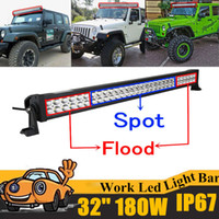 Wholesale Boat Lights Strip - 180W 32 inch LED Work Light Bar Offroad Boat Car Tractor Truck 4x4 4WD SUV ATV 12V 24V Spot Flood Combo Strip Lights with Mounting Bracket