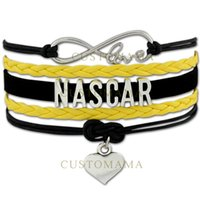 occident sports nascar - Custom Infinity Love I love Nascar Statement Bracelet Heart Charm Wax Cords Wrap Braided Leather Adjustable Bracelet Bangles Drop Shipping