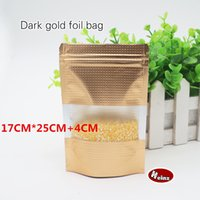 Wholesale Food Grade Packaging Materials - 17*25+4cm Dark gold foil self-styled stand bag Food grade material Food packaging store  Ornaments bags. Spot 100  package