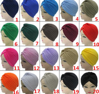 Wholesale ear protector hats - Unisex India Cap Women Turban Headwrap Hat Skullies Beanies Men Bandana Ears Protector Hair Accessories R052