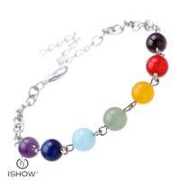 Wholesale silver energy bracelet - 8mm Women Men Natural Black Rainbow color Beads 7 Chakra Bracelets Healing Energy Stone Meditation Gem Stone Mala Bracelet