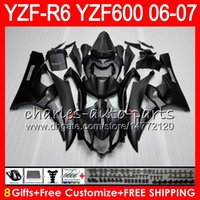 Wholesale R6 Fairing Kit Matte - 8Gifts 23Color Bodywork For YAMAHA YZF600 YZFR6 06 07 YZF-R600 59HM4 Matte black YZF R 6 06-07 YZF 600 YZF-R6 YZF R6 2006 2007 Fairing kit