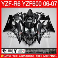 kit de carenado r6 negro mate al por mayor-8 Regalos 23 Carrocería de colores para YAMAHA YZF600 YZFR6 06 07 YZF-R600 59HM4 Mate negro YZF R 6 06-07 YZF 600 YZF-R6 YZF R6 2006 2007 Kit de carenado