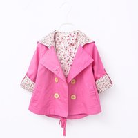 Wholesale Top Korean Jacket Brands - 2017 girls new cute autumn Kids Trench Coat Korean Girl jacket Children cotton children Tops Child Clothes Baby Clothing 3colors
