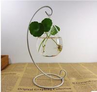 çiçek cam vazo toptan satış-Asılı Cam Vazo için tutucu Çiçek Microlandschaft Metal Vazolar Yuvarlak Şişe Vazo Sıcak Satış için Yaratıcı Destekçisi Standı