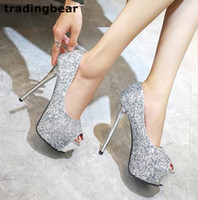 peep toe gümüş balo toptan satış-Sparkly gümüş payetli yüksek topuk platformu peep toe pompaları parti balo düğün ayakkabı gümüş siyah boyutu 34-39