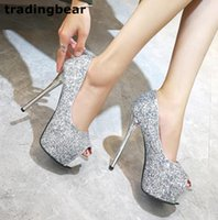 Wholesale Wedding Sparkly High Heels - Sparkly silver sequined high heel platform peep toe pumps party prom wedding shoes silver black size 34 to 39