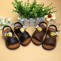 Wholesale Crochet Double Sole Baby Shoes - Crochet baby sandals first walker shoes color match infant slippers bow tie round rhinestone button 0-12M double sole glowing sneakers sanda
