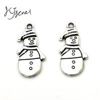 Wholesale Snowman Gifts Make - Christmas Snowman Tibetan Silver Plated Charms Pendants fit Jewelry Making Bracelet Craft DIY Handmade Christmas Gift
