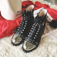 Wholesale Round Metal Rivets - New 2017 Fashion Rivets Plus Size EU43 Women Boots Metal Round Toe Laced-up Buckled Ankle Boots British Style Chelsea Boots A7102