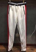 Wholesale Plaid Flannel Pants - 2017 Best Version Fashion Justin bieber FOG Track Pants Fear Of God Men Zipper Pants side zipper casual sweatpants men hiphop jogger pants